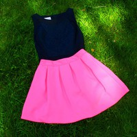 Scuba Skater Skirt- Hot Pink-$42