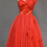 Red Tulle &amp; Satin 1950&#x27;s Prom Dress w/ Leaf Appliques VINTAGEOUS VINTAGE CLOTHING