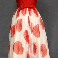 Striking Red & White 1960's Evening Gown VINTAGEOUS VINTAGE CLOTHING
