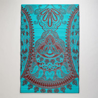 4'x6' Red and Blue Antigua Paisley Rio Floor Mat