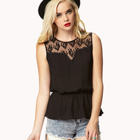 Studded Lace-Paneled Blouse | FOREVER21 - 2041390659