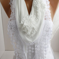 White Creamy Rose Cotton Shawl/ Scarf  with white Lace Edge