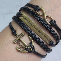 Infinity, Will & Anchor Bracelet--Antique Bronze Bracelet--Wax Cords and Leather Bracelet-- Friendship Gift-Personalized Bracelet