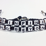To Infinity and Beyond Bracelets Set of 2 Black Bracelets White Beads MADE TO ORDER-1 Week production time