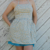 Cornelia. Petite Halter Sundress Cream with Blue Hearts. Made to Order.