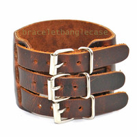Leather bracelet with three buckle and brown leather cuff bracelet men bracelet best friend gift jewelry bangle d-351