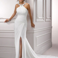 Ivory Gathered Chiffon Beaded Halter Low Back Alexa Wedding Dress