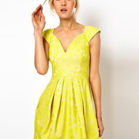 ASOS Lace Skater Dress With Sexy Neck at asos.com