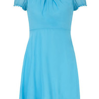Blue pleated neck dress