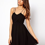 ASOS Skater Dress With Cami Straps at asos.com