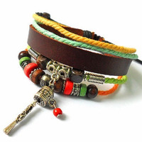 Rock men or women bracelet with brown leather charm by feihong2012