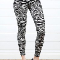 Black White Aztec Leggings and Shop Leggings at MakeMeChic.com