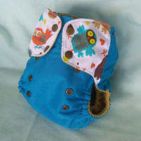 Cloth diaper Pocket with gussets Retro Owls PUL  or by MyVeryBest