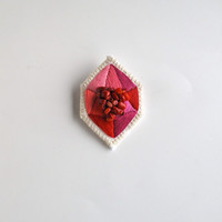 Geometric embroidered pink and red brooch faux gem in diamond shape with red coral beads
