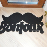 Door mat &quot;Bonjour&quot; with mustache. Elegant doormat moustache. Welcome rug