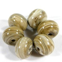 Shiny Fossil Ivory Beads Handmade Lampwork Beads Glossy Glass Streaky