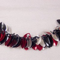Scalemaille bracelet red black and silver anodized aluminum scales | SilverGriffonDesigns - Jewelry on ArtFire