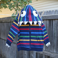 Toddler Monster Hoodie  Rainbow Stripe 4T by punksyshop on Etsy