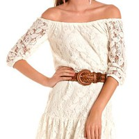 Belted Ruffle-Hem Lace Dress: Charlotte Russe