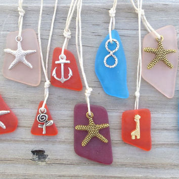 Orange Sea Glass Anchor Charm Necklace