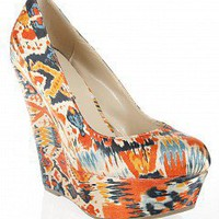Bold Printed Satin Wedges | Women Wedges | CILO-04 | ORANGE | Bare Feet Shoes