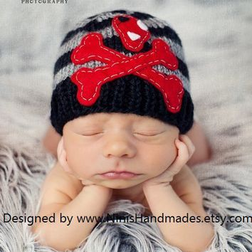 In Stock BLACK And GREY Skull And Bones by NinisHandmades on Etsy
