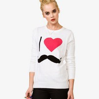 I Heart Mustaches Sweater | FOREVER21 - 2027963374