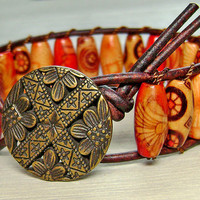 Bracelet Leather Wrap Painted Wood Beads Antique by MadeByDeby