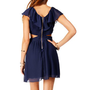 Navy Ruffle Cutout Dress