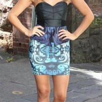 Strapless Peplum Dress with Faux Leather Top &amp; Print Skirt