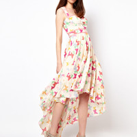 Nishe Hi Lo Dress In Butterfly Print at asos.com