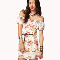 Rose Print Dress w/ Faux Leather Belt | FOREVER 21 - 2050855220