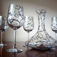Winter Wine Glasses and Matching Decanter5 Piece by marywibis