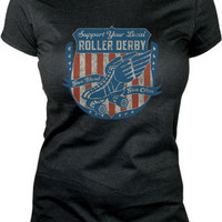 Lucky 13 Give Blood Roller Derby inspired Girlfriend Tee - Short Sleeve Tees - Women&#x27;s - Grease, Gas and Glory