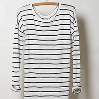 Anthropologie - Slim Striped Linen Pullover