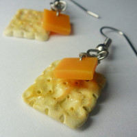 Cracker and Cheese Earrings Miniature Food by Sweetnsavorytrinkets