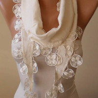 New - Gift Scarf - Creamy White Pashmina Scarf with Trim Edge