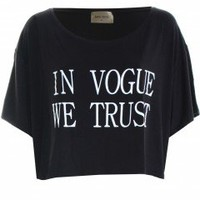 "LOVE Black ""In Vogue We Trust"" Cropped Tee - Love"
