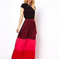 ASOS Maxi Skirt in Colourblock at asos.com
