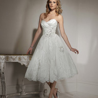 2012 Maggie Sottero Bridal - Ivory & Pewter Organza & Lace Floral Strapless Tea Length Isadora Ann Wedding Gown - 0 - 28 - Unique Vintage - Prom dresses, retro dresses, retro swimsuits.