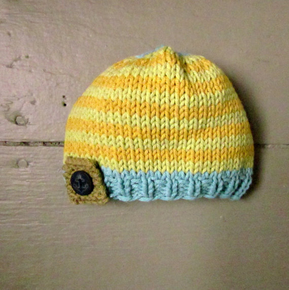 Baby boys knit hat newborn baby hat striped hat by sweetbabydolly