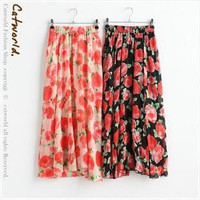 Summer blooming roses elegant chiffon dress