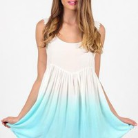 Mint Ombre Sleeveless Dress with Crochet Hemline Detial