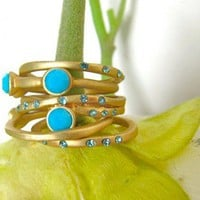 Turquoise Blue Stacking Rings - Matte Gold with Tiny Crystals - Set of | LightMetals - Jewelry on ArtFire