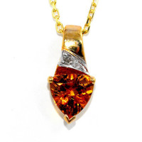 1.5 Carat Genuine Citrine Trillion Diamond Pendant 14Kt Yellow Gold Plated