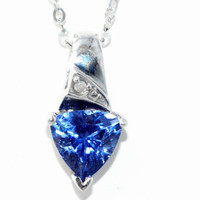 1.5 Carat Tanzanite Trillion Diamond Pendant .925 Sterling Silver Rhodium Finish White Gold Quality