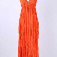Womens Boho Orange Ruffle Maxi Dress with deep V-Neck
