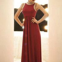 Very Vogue Red Sleeveless Maxi with Rivetted Neck and Sleeve