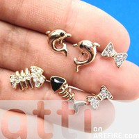 Dolphin Fishbone and Bow Tie Shaped Stud Earring 6 Piece Set