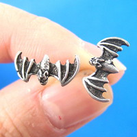 Small Realistic Bat Wings Animal Stud Earrings Silver from Dotoly